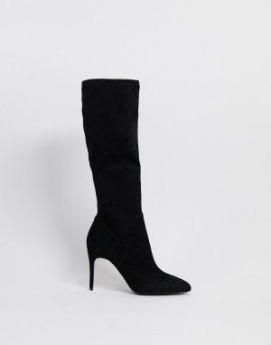 Черные сапоги до колен на каблуке-шпильке -Черный ALDO