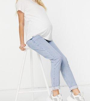 Голубые джинсы в винтажном стиле с эластичной вставкой для животика -Голубой New Look Maternity