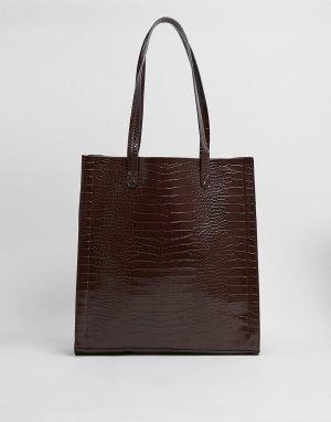 Сумка шоколадного цвета с рисунком крокодиловой кожи и отделением для ноутбука -Коричневый ASOS DESIGN