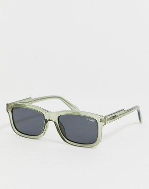 Квадратные солнцезащитные очки в зеленой оправе Beatnik-Зеленый Quay Australia