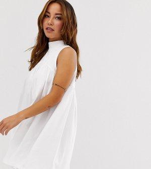 Свободное платье мини с высоким воротом и без рукавов ASOS DESIGN PETITE-Белый Petite