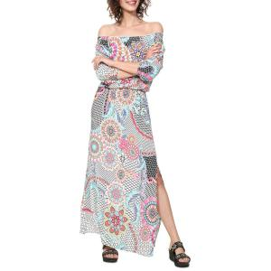 Платье длинное с графическим рисунком Dera DESIGUAL. Цвет: белый наб.рисунок