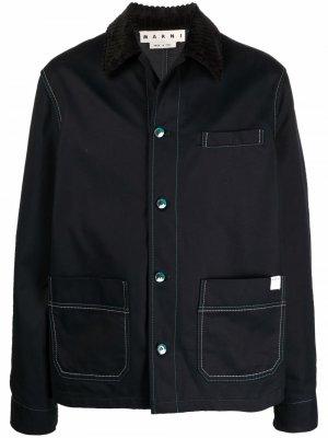 Куртка-рубашка с декоративной строчкой Marni. Цвет: черный