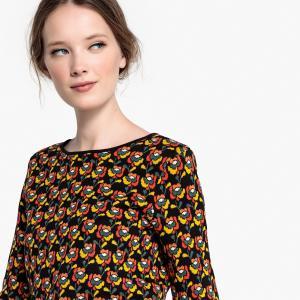 Пуловер жаккардовый с цветочным рисунком LA REDOUTE COLLECTIONS. Цвет: рисунок цветочный/фон черный