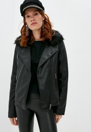 Куртка кожаная Twinset Milano MY TWIN. Цвет: черный