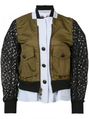 Многослойная куртка-бомбер Veronica Beard. Цвет: зелёный