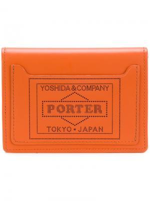 Кошелек-визитница Porter-Yoshida & Co. Цвет: жёлтый и оранжевый