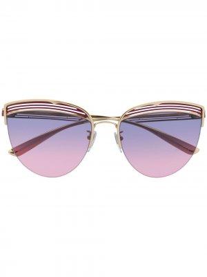 Солнцезащитные очки в оправе кошачий глаз полоску Bvlgari. Цвет: золотистый
