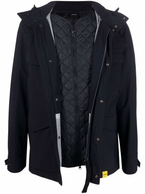 Пальто на молнии в воротником-воронкой Aspesi. Цвет: синий