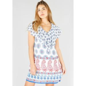 Платье короткое с кашемировым рисунком короткими рукавами DERHY. Цвет: экрю/рисунок