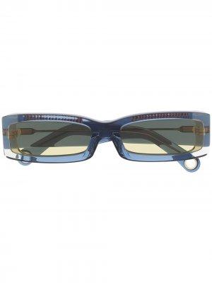 Солнцезащитные очки Les lunettes 97 в прямоугольной оправе Jacquemus. Цвет: синий