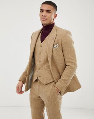 Свадебный облегающий пиджак из 100% твида Харрис светло-коричневого цвета -Бежевый ASOS DESIGN