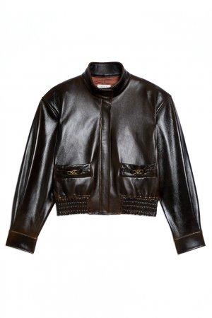 Темно-коричневая кожаная куртка Sandro. Цвет: коричневый