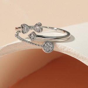 Открытое кольцо со стразами и бабочкой SHEIN. Цвет: серебряные