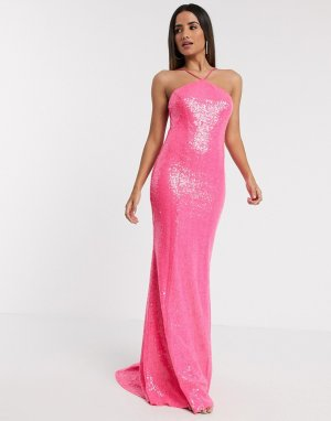 Розовое платье макси с глубоким вырезом на спине и пайетками -Розовый Goddiva
