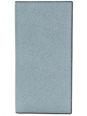 Удлиненная визитница Valextra. Цвет: синий