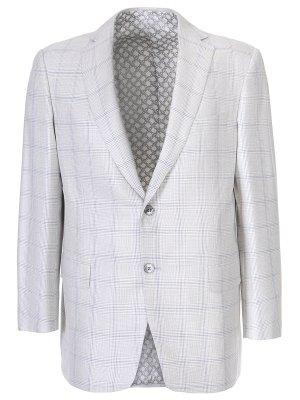 Пиджак классический в клетку ZILLI. Цвет: белый