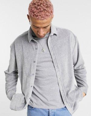 Серая меланжевая oversized-рубашка из велюра в стиле 90-х -Серый ASOS DESIGN