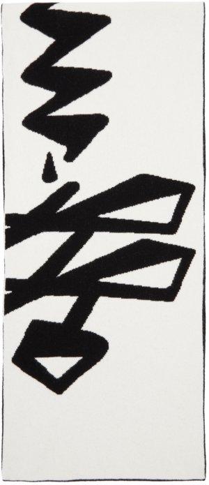 Black & White Wool Logo Scarf Off-White. Цвет: black white