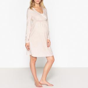 Ночная рубашка для периода беременности и грудного вскармливания LA REDOUTE MATERNITE. Цвет: бежевый меланж