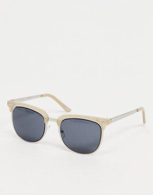 Солнцезащитные очки серебристого цвета и шампанского в стиле ретро с дымчатыми стеклами -Коричневый цвет ASOS DESIGN
