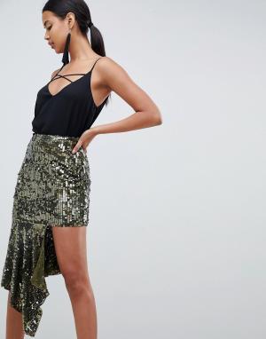Асимметричная юбка миди с декоративной отделкой -Зеленый ASOS DESIGN