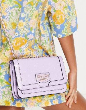 Фиолетовый лакированный портфель с тиснением -Фиолетовый цвет River Island