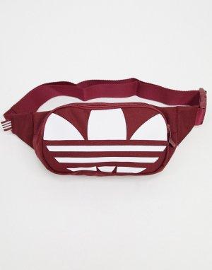 Бордовая сумка-кошелек на пояс с крупным логотипом -Красный adidas Originals