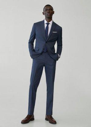 Костюмные брюки slim fit с мелкой фактурной выделкой - Brasilia Mango. Цвет: синий