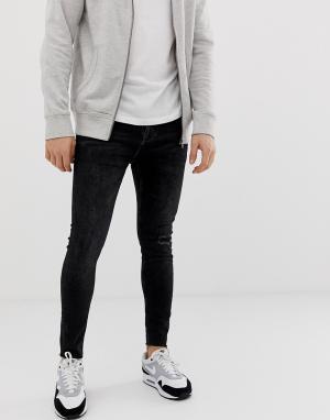 Черные джинсы скинни с рваной отделкой на коленях Join Life Bershka. Цвет: черный