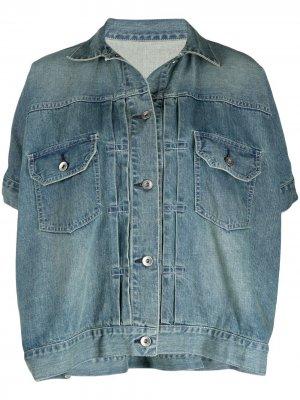 Джинсовая куртка с эффектом потертости Sacai. Цвет: синий
