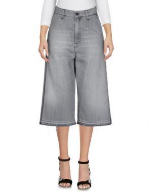 Джинсовые брюки-капри (+) PEOPLE. Цвет: серый