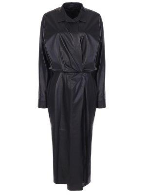 Кожаное платье с драпировкой TEREKHOV. Цвет: черный