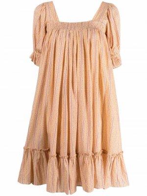 Платье с оборками и цветочным принтом byTiMo. Цвет: оранжевый