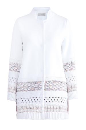 Укороченное пальто с деталями ажурной вязки на спинке и кромках MAISON ULLENS. Цвет: белый