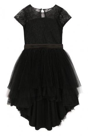 Платье асимметричного кроя с поясом Aletta. Цвет: черный