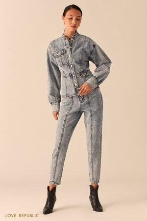 Приталенная джинсовая куртка с объемными рукавами LOVE REPUBLIC