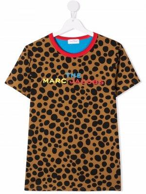 Футболка из органического хлопка в горох The Marc Jacobs Kids. Цвет: коричневый