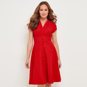 Платье-миди, 3/4, расклешенное, однотонное JOE BROWNS. Цвет: красный