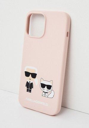 Чехол для iPhone Karl Lagerfeld 13 Pro Max, Liquid silicone & Choupette Pink. Цвет: розовый