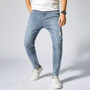 Мужской Рваные джинсы скинни SHEIN. Цвет: легко-синий