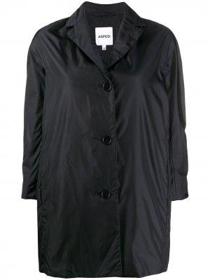 Фактурное однобортное пальто с укороченными рукавами Aspesi. Цвет: черный