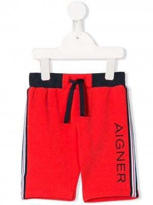 Спортивные шорты с логотипом Aigner Kids. Цвет: красный