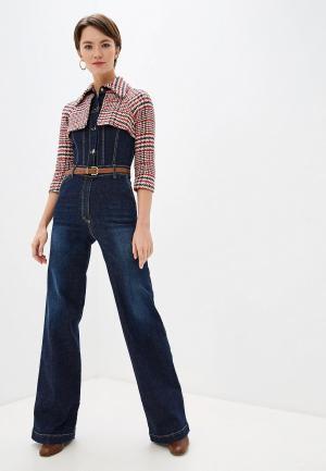 Комбинезон джинсовый Elisabetta Franchi. Цвет: синий