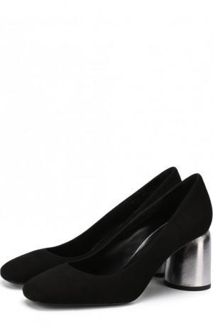 Замшевые туфли на фигурном каблуке Baldan. Цвет: черный