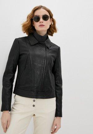 Куртка кожаная Hugo Labaia. Цвет: черный