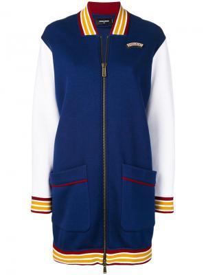 Удлиненная куртка-бомбер Dsquared2. Цвет: синий