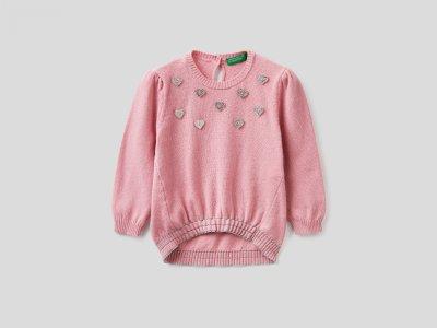 Джемпер из смесовой шерсти с декоративными пуговицами Benetton. Цвет: розовый