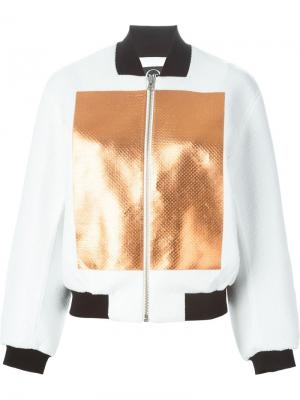 Куртка-бомбер с отделкой металлик McQ Alexander McQueen. Цвет: белый