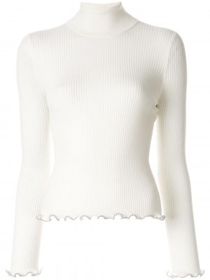 Трикотажный свитер в рубчик с цепочкой Alexander Wang. Цвет: белый